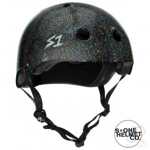 S1 MEGA LIFER Helmet - Black Gloss Glitter - Angled - SHMELIBGG