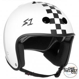 S1 RETRO Helmet - White Gloss Black Check - Angled - SHRLIWGBC